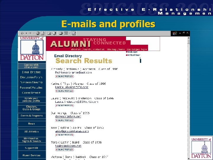 E-mails and profiles 33