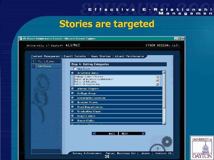 Stories are targeted 36