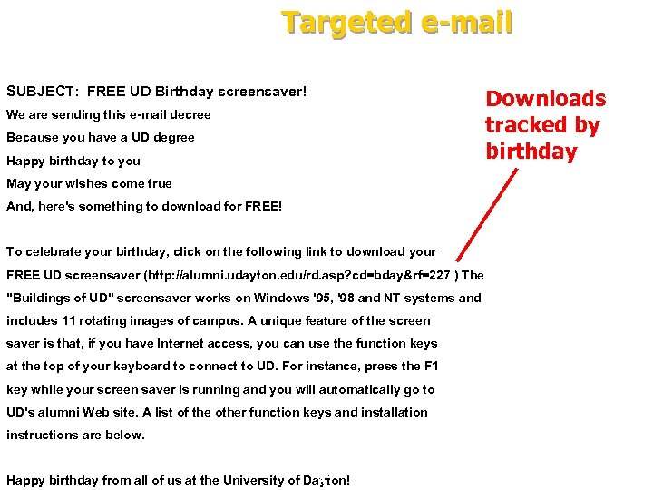 Targeted e-mail SUBJECT: FREE UD Birthday screensaver! We are sending this e-mail decree Because