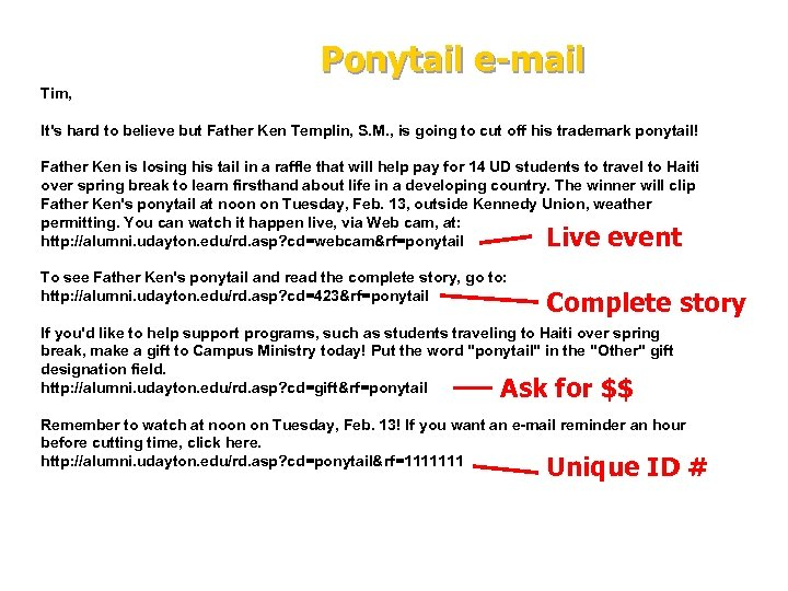 Ponytail e-mail Tim, It's hard to believe but Father Ken Templin, S. M. ,