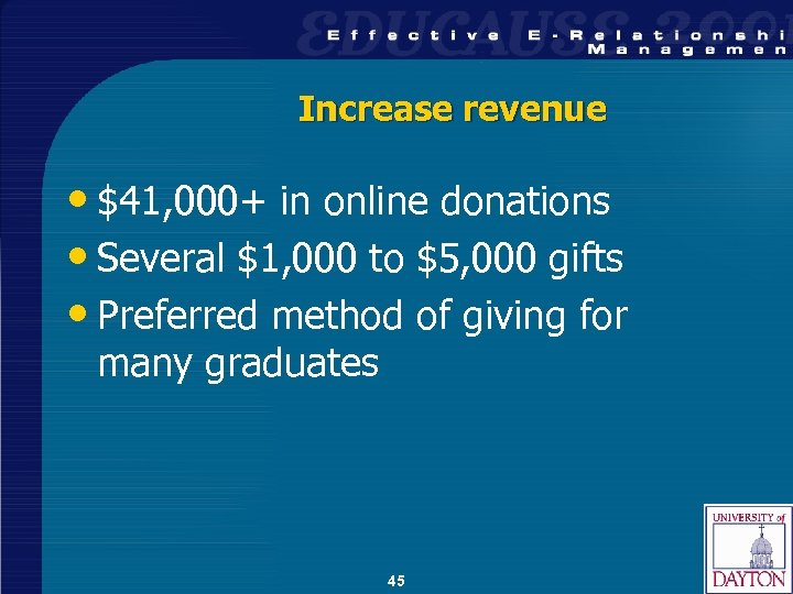 Increase revenue • $41, 000+ in online donations • Several $1, 000 to $5,