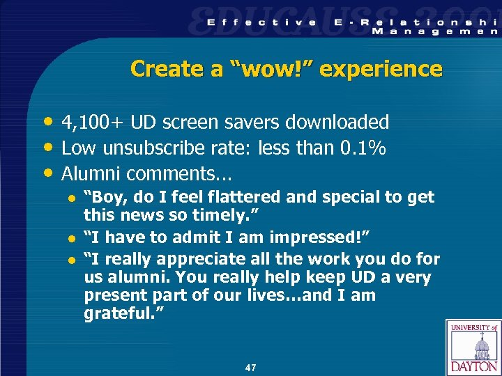 "Create a ""wow!"" experience • 4, 100+ UD screen savers downloaded • Low unsubscribe"