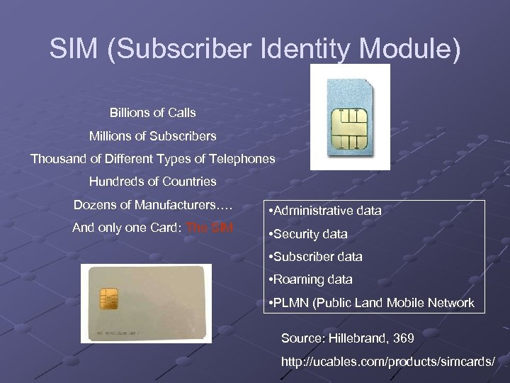 SIM (Subscriber Identity Module) Billions of Calls Millions of Subscribers Thousand of Different Types