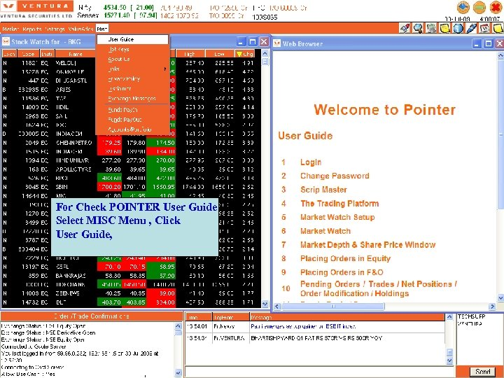 For Check POINTER User Guide Select MISC Menu , Click User Guide,