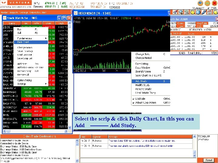 Select the scrip & click Daily Chart, In this you can Add ----- Add
