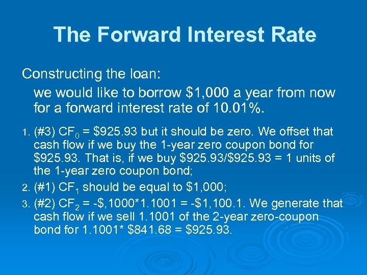 The Forward Interest Rate Constructing the loan: we would like to borrow $1, 000