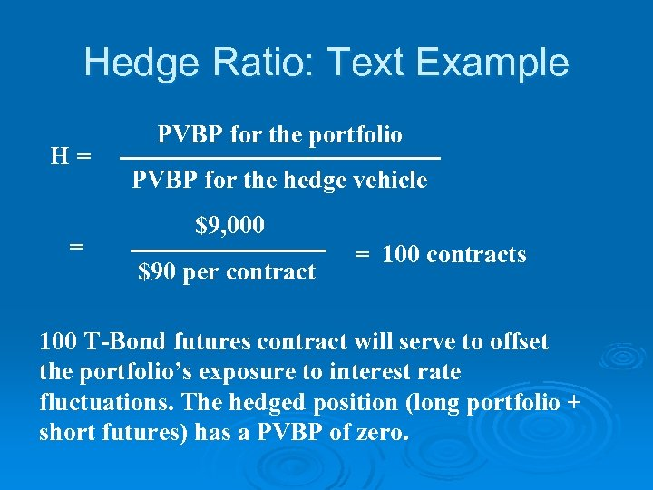 Hedge Ratio: Text Example H= = PVBP for the portfolio PVBP for the hedge
