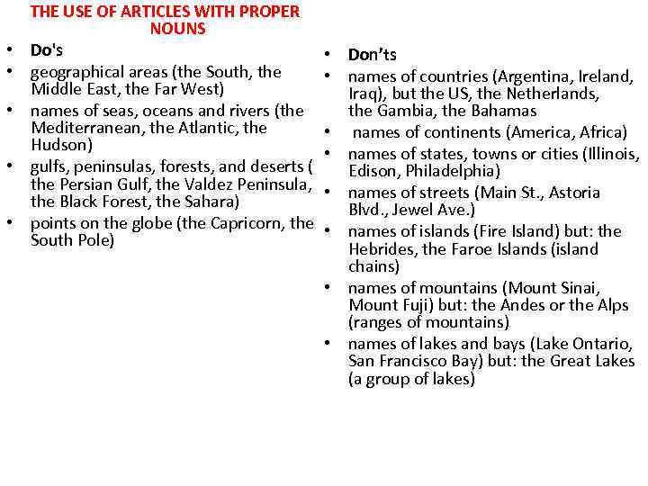 • • • THE USE OF ARTICLES WITH PROPER NOUNS Do's geographical areas