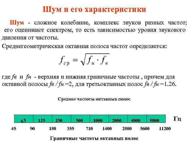 Шум и его характеристики Шум - сложное колебание, комплекс звуков разных частот; Шум его
