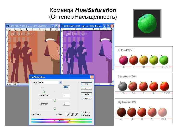 Команда Hue/Saturation (Оттенок/Насыщенность)
