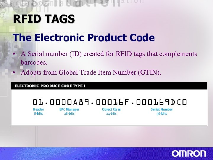 RFID TAGS The Electronic Product Code • A Serial number (ID) created for RFID