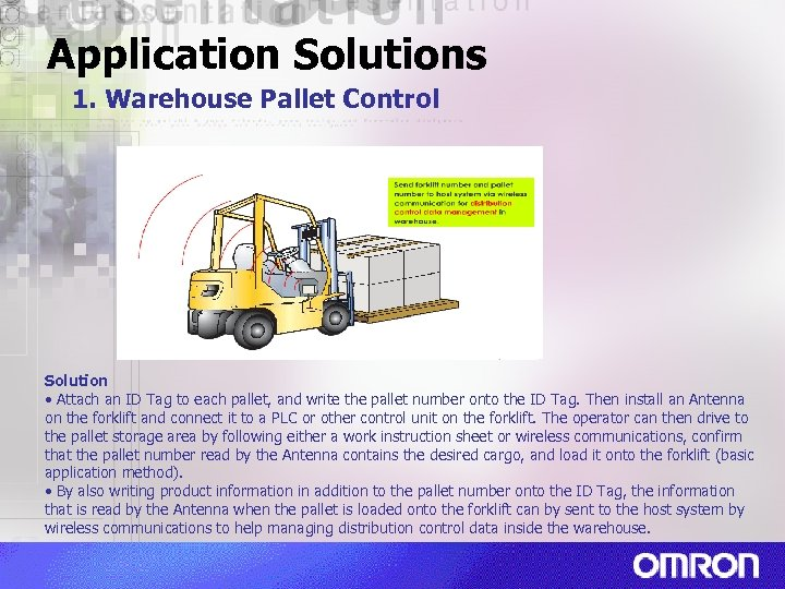 Application Solutions 1. Warehouse Pallet Control Solution • Attach an ID Tag to each