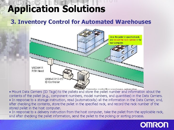 Application Solutions 3. Inventory Control for Automated Warehouses • Mount Data Carriers (ID Tags)