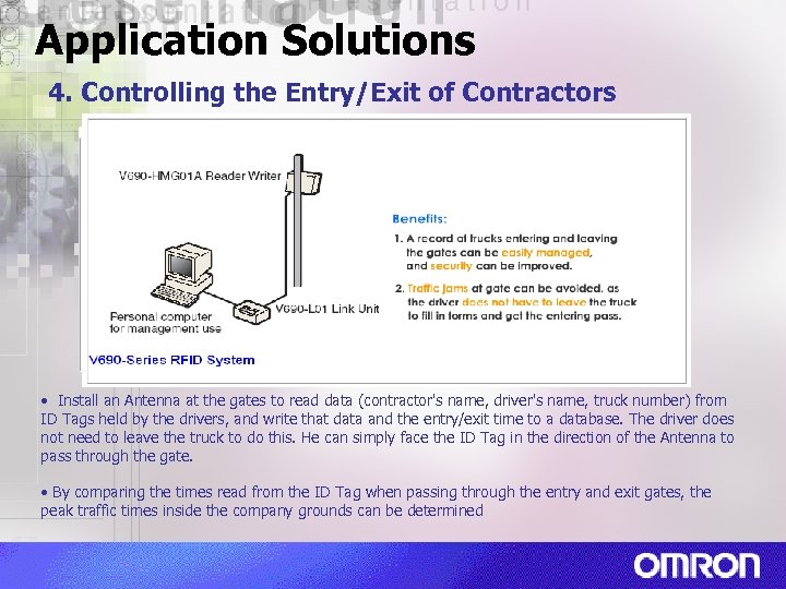Application Solutions 4. Controlling the Entry/Exit of Contractors • Install an Antenna at the