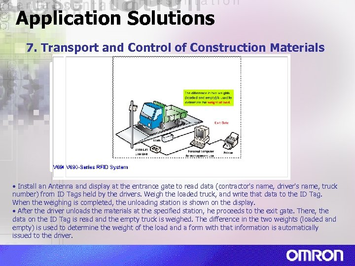 Application Solutions 7. Transport and Control of Construction Materials • Install an Antenna and