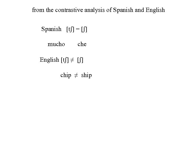 from the contrastive analysis of Spanish and English Spanish [tʃ] = [ʃ] mucho che