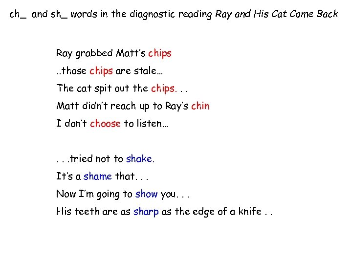 ch_ and sh_ words in the diagnostic reading Ray and His Cat Come Back