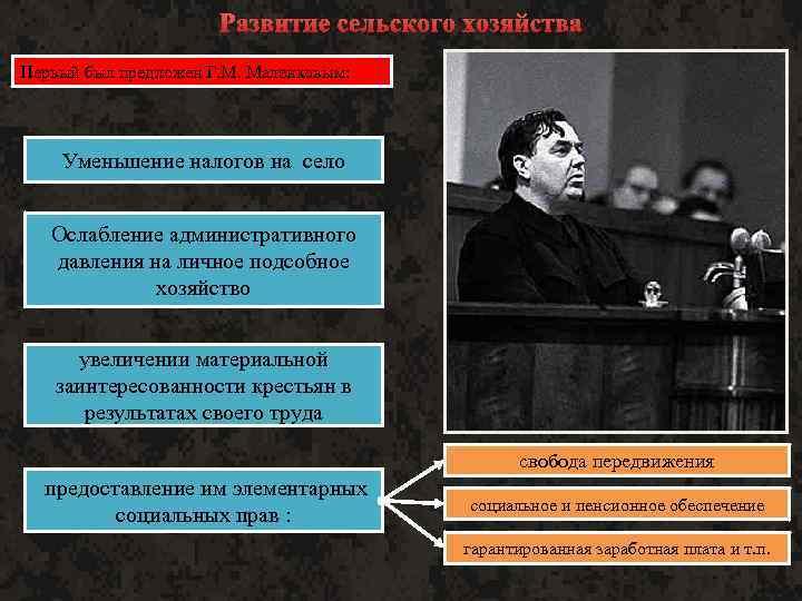 Развитие сельского хозяйства Первый был предложен Г. М. Маленковым: Уменьшение налогов на село Ослабление