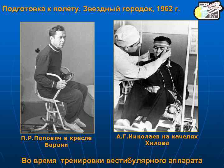 Подготовка к полету. Звездный городок, 1962 г. П. Р. Попович в кресле Барани А.