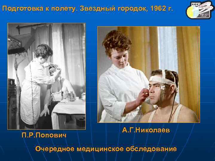 Подготовка к полету. Звездный городок, 1962 г. П. Р. Попович А. Г. Николаев Очередное