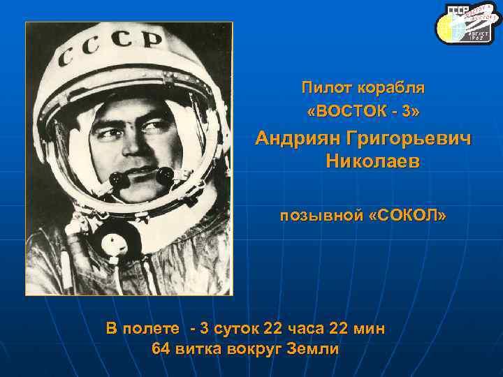 Пилот корабля «ВОСТОК - 3» Андриян Григорьевич Николаев позывной «СОКОЛ» В полете - 3