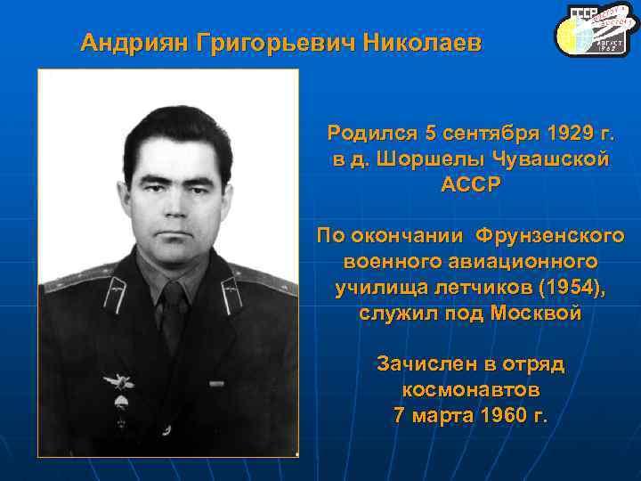Андриян Григорьевич Николаев Родился 5 сентября 1929 г. в д. Шоршелы Чувашской АССР По