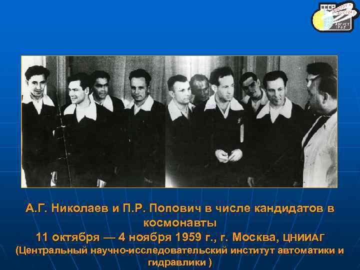 А. Г. Николаев и П. Р. Попович в числе кандидатов в космонавты 11 октября