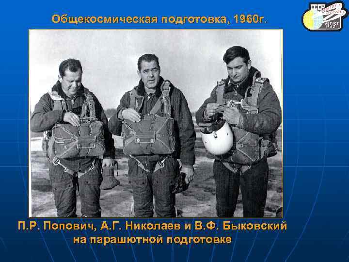 Общекосмическая подготовка, 1960 г. П. Р. Попович, А. Г. Николаев и В. Ф. Быковский