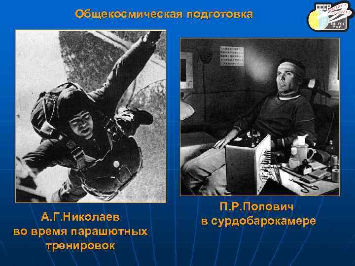 Общекосмическая подготовка А. Г. Николаев во время парашютных тренировок П. Р. Попович в сурдобарокамере