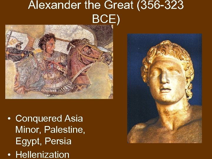 Alexander the Great (356 -323 BCE) • Conquered Asia Minor, Palestine, Egypt, Persia •