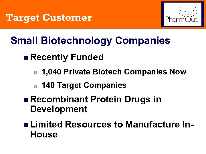 Target Customer Small Biotechnology Companies n Recently Funded 1, 040 Private Biotech Companies Now