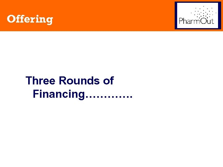Offering Three Rounds of Financing………….