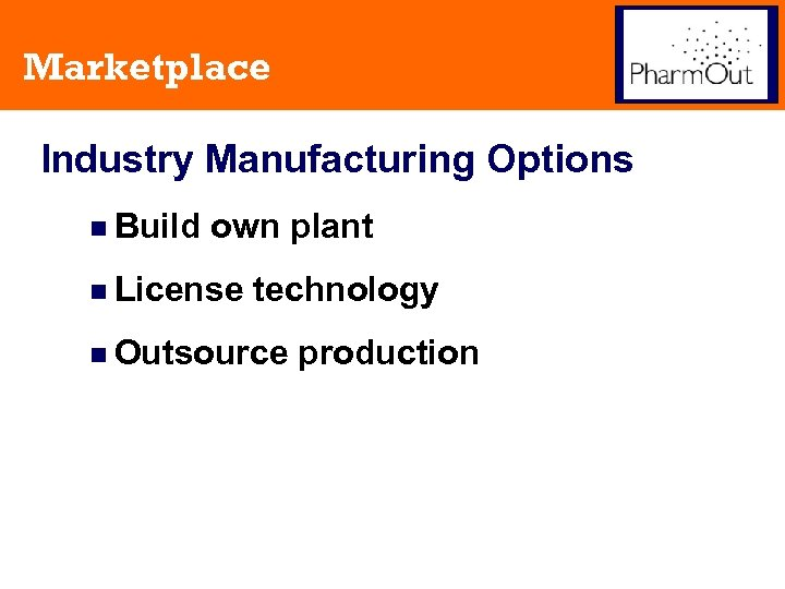 Marketplace Industry Manufacturing Options n Build own plant n License technology n Outsource production