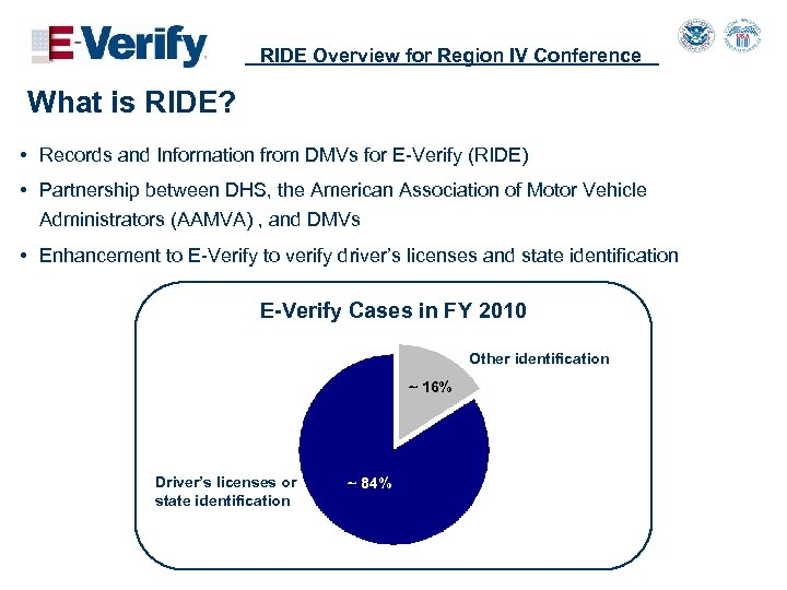 RIDE Overview for Region IV Conference What is RIDE? • Records and Information from