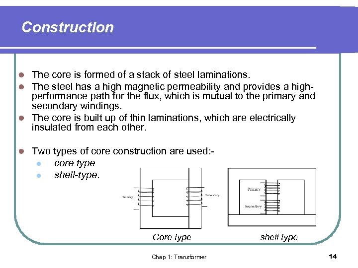 Construction The core is formed of a stack of steel laminations. The steel has