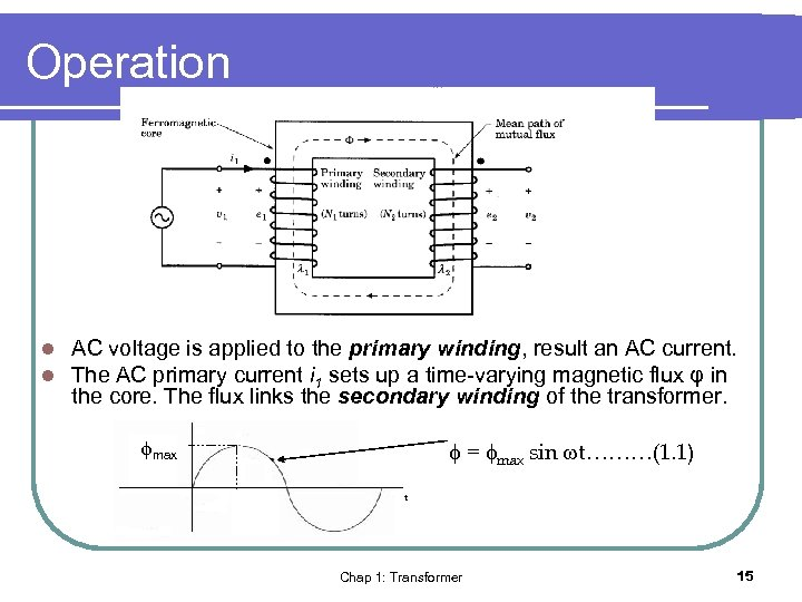 Operation l l AC voltage is applied to the primary winding, result an AC