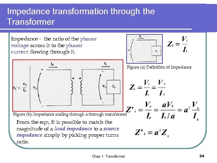 Impedance transformation through the Transformer Impedance - the ratio of the phasor voltage across