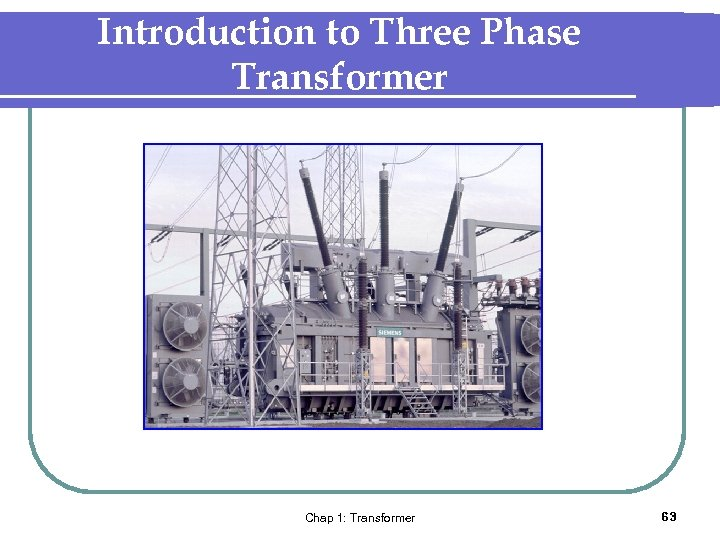 Introduction to Three Phase Transformer Chap 1: Transformer 63