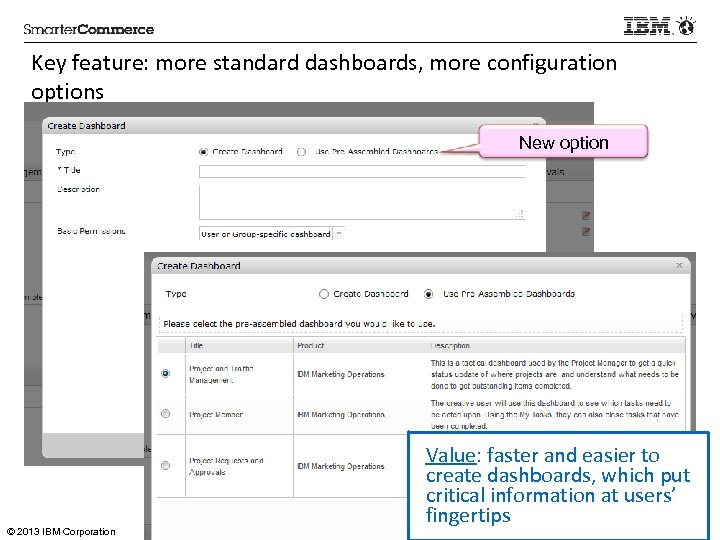 Key feature: more standard dashboards, more configuration options New option © 2013 IBM Corporation