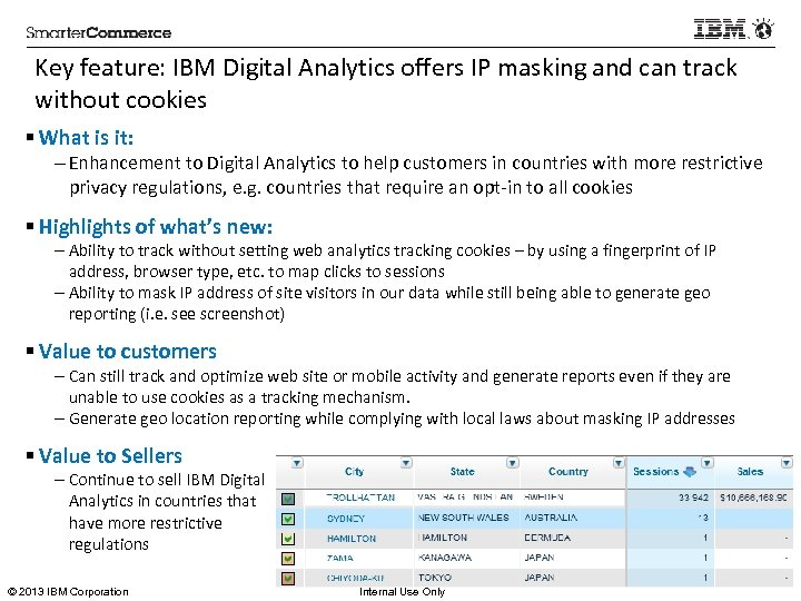Key feature: IBM Digital Analytics offers IP masking and can track without cookies §