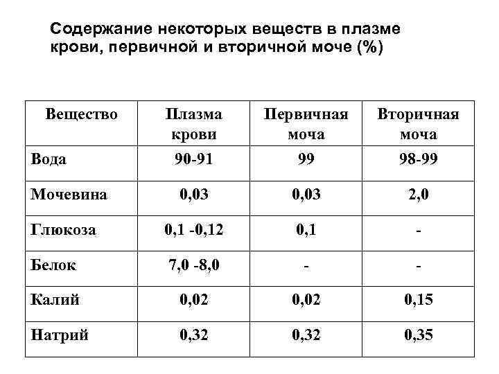 Содержание некоторых веществ в плазме крови, первичной и вторичной моче (%) Вещество Плазма крови