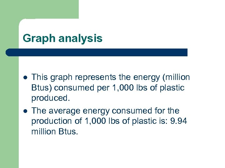 Graph analysis l l This graph represents the energy (million Btus) consumed per 1,