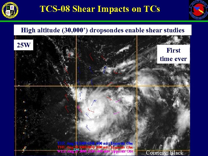 TCS-08 Shear Impacts on TCs High altitude (30, 000') dropsondes enable shear studies 25