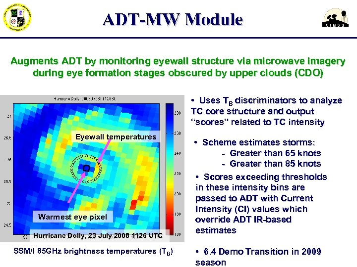 ADT-MW Module Augments ADT by monitoring eyewall structure via microwave imagery during eye formation