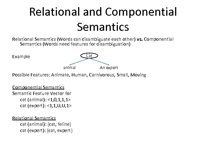 Relational and Componential Semantics Relational Semantics (Words can disambiguate each other) vs. Componential Semantics