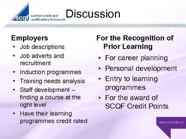 Discussion Employers • Job descriptions • Job adverts and recruitment • Induction programmes •