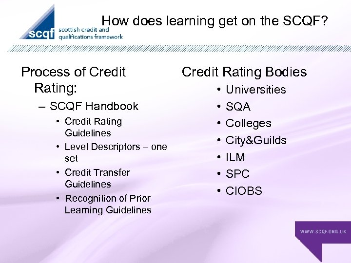 How does learning get on the SCQF? Process of Credit Rating: – SCQF Handbook