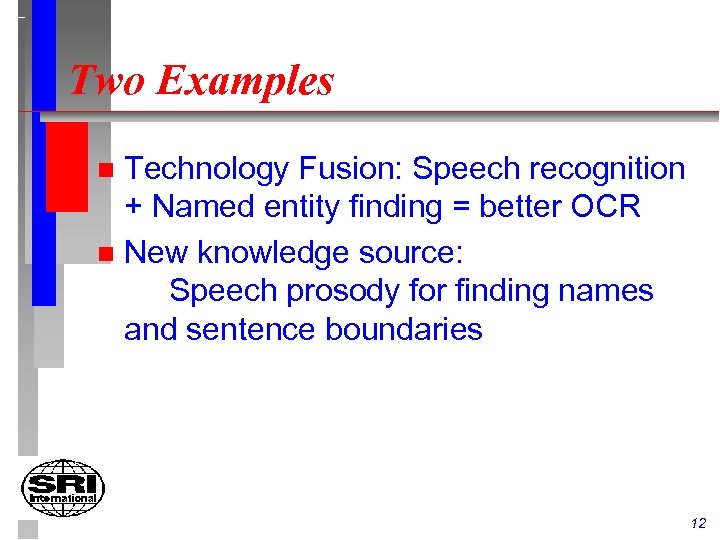 Two Examples Technology Fusion: Speech recognition + Named entity finding = better OCR n