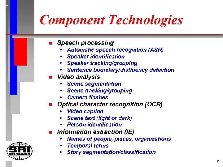 Component Technologies n Speech processing • • n Automatic speech recognition (ASR) Speaker identification
