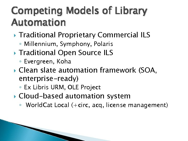 Competing Models of Library Automation Traditional Proprietary Commercial ILS ◦ Millennium, Symphony, Polaris Traditional